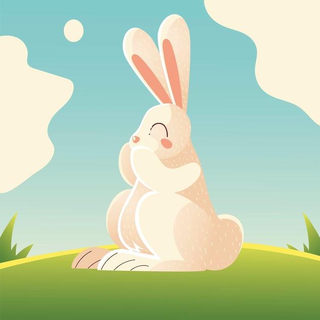 Animal de desenho animado de coelho branco bonito na ilustração de grama