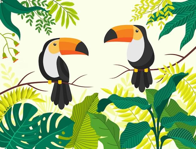 Animal de desenho animado de pássaro tropical tucano
