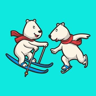 Animal de desenho animado ursos polares esquiando e patins de gelo, logotipo do mascote