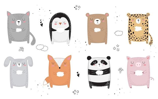 Animal de desenho de linha de vetor com slogan sobre amigo. ilustração do doodle. dia da amizade, dia dos namorados, aniversário, chá de bebê, aniversário, festa infantil Vetor Premium