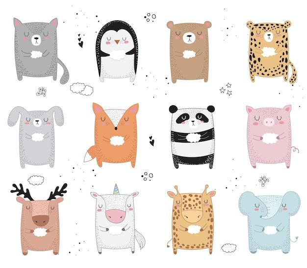 Animal de desenho vetorial de linha com slogan sobre amigo ilustração do doodle dia da amizade