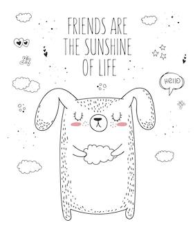 Animal de desenho vetorial de linha com slogan sobre um amigo ilustração do doodle