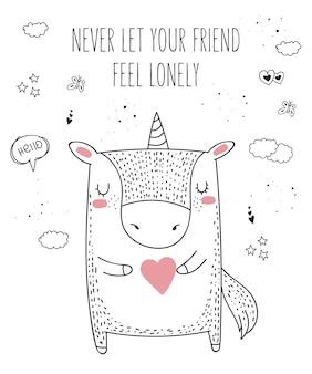 Animal de desenho vetorial de linha com slogan sobre um amigo