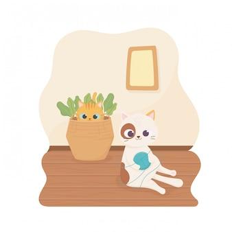 Animal de estimação branco com manchas bola de lã de gato e gato na ilustração dos desenhos animados de cesta