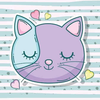 Animal de estimação de cabeça de gato com corações