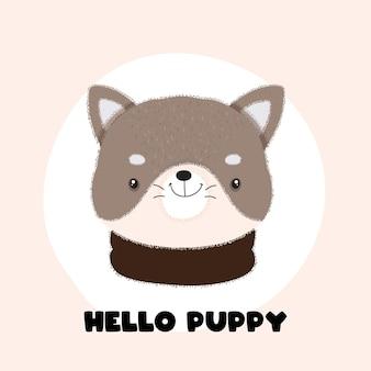 Animal de estimação filhote de cachorro bonito desenho simples estilo simples
