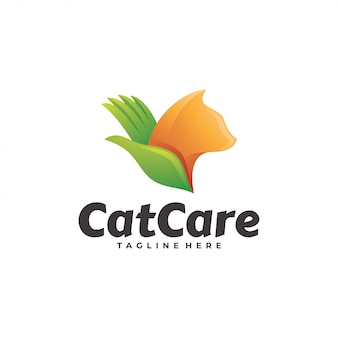 Animal de estimação gato e cuidados mão logotipo