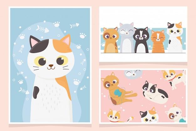 Animal de estimação gatos adorável jogando espinha de peixe pata cartoon cartões ilustração