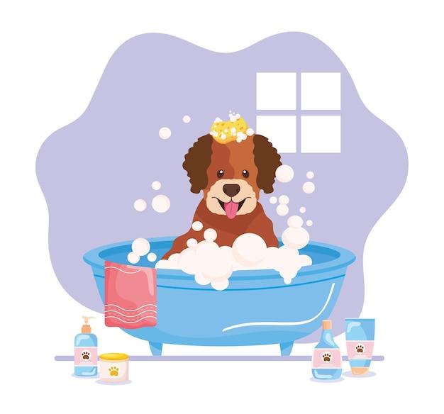 Animal de estimação na banheira