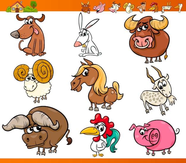 Animal de fazenda conjunto ilustração dos desenhos animados