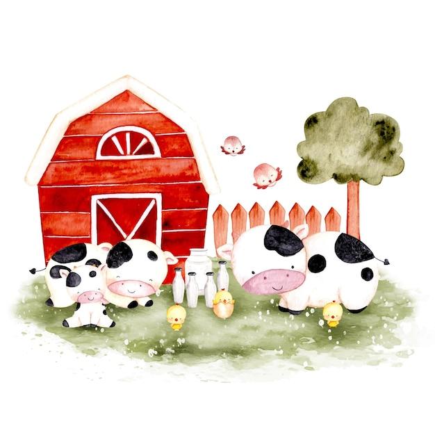 Animal de fazenda desenhado à mão em aquarela
