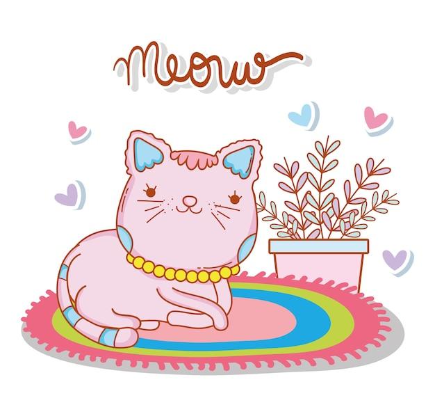 Animal de gato no tapete com plantas e corações