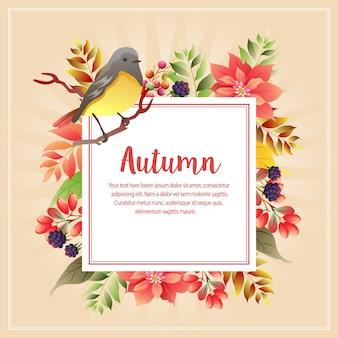 Animal de outono outono com canto dos pássaros