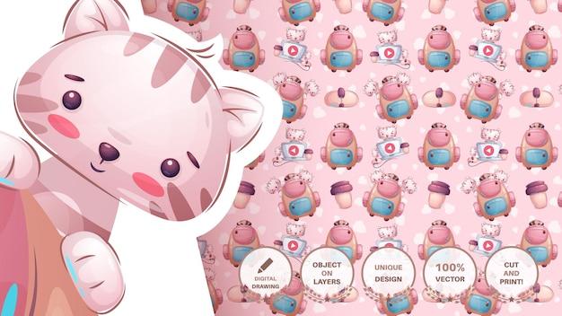 Animal de personagem de desenho animado escolar com pasta - padrão uniforme