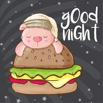 Animal de porco bonito e hambúrguer