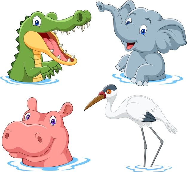Animal de safari dos desenhos animados na água