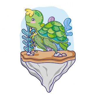 Animal de tartaruga na pedra com plantas de algas