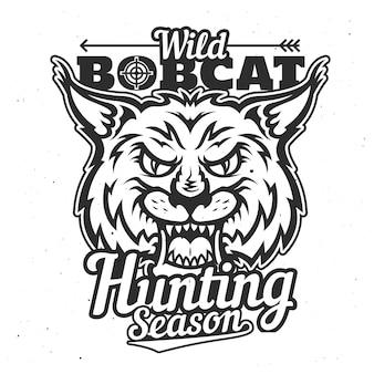 Animal de troféu de caça bobcat selvagem, temporada de caça