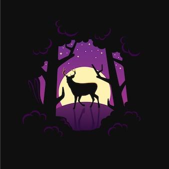 Animal de veado à noite na floresta