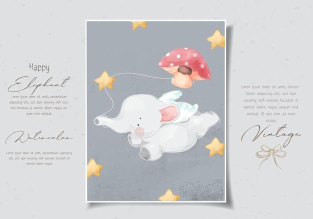 Animal desenho elefante fofo voando com ilustração em aquarela de balão de cogumelo