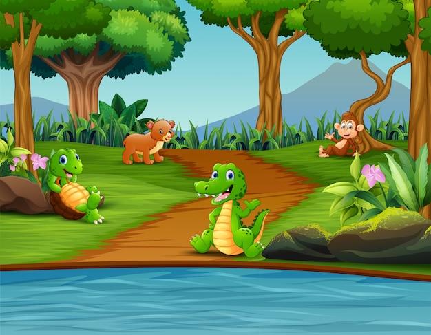 Animal diferente feliz desfrutando pelo rio