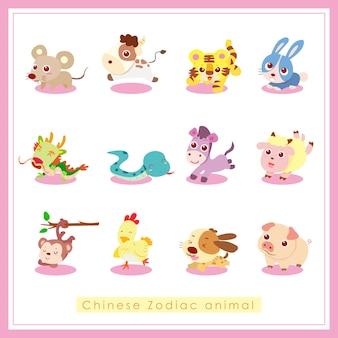 Animal do zodíaco chinês, ilustração de desenho animado