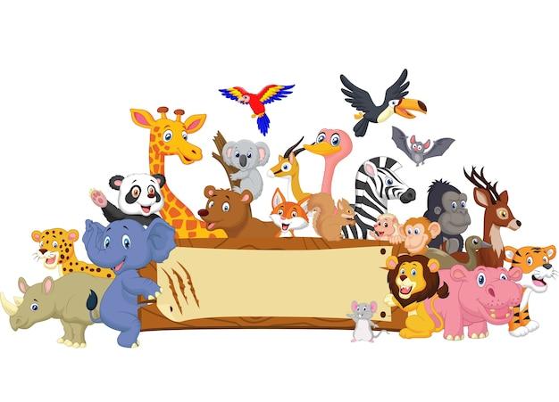 Animal dos desenhos animados com sinal em branco