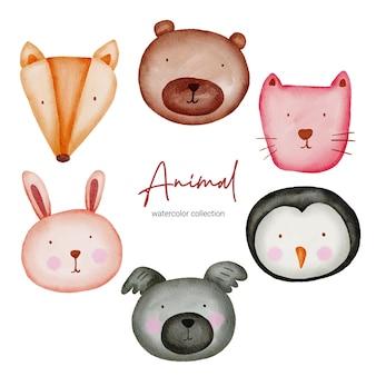 Animal em aquarela. conjunto de animais para brinquedos para bebês