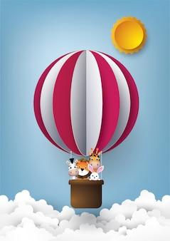 Animal em balão de ar quente.