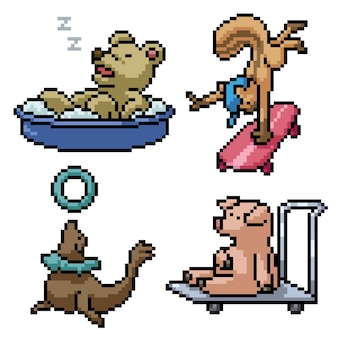 Animal engraçado isolado pixel art definido