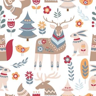 Animal escandinavo e sem costura padrão floral