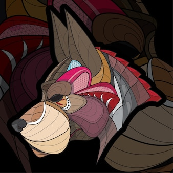 Animal estilizado zentangle para colorir uma ilustração de cachorro grande