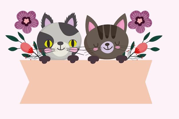 Animal felino de gato fofo com banner de flores, ilustração de desenho de animal de estimação