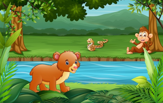 Animal feliz desfrutando à beira-rio