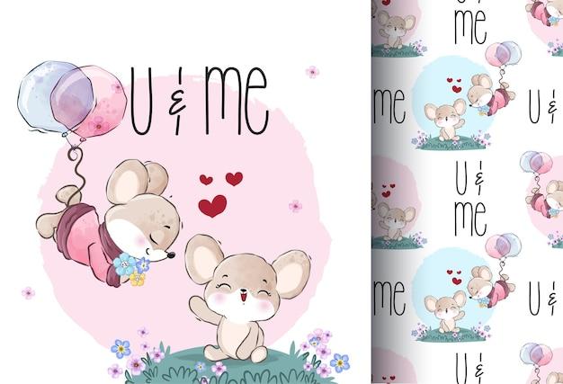 Animal fofo adorável bebê mouse padrão sem emenda