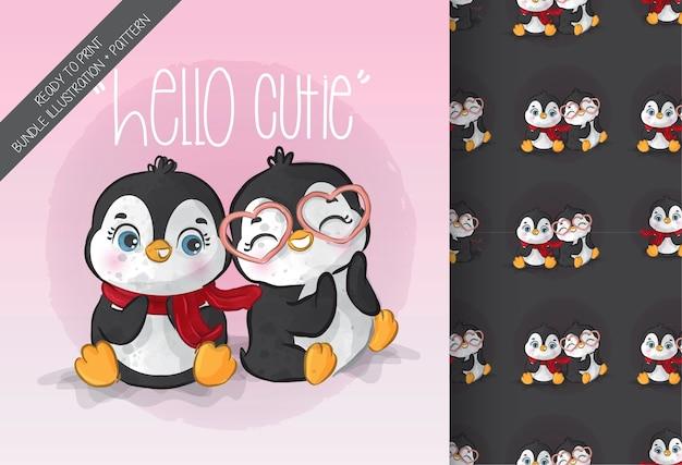 Animal fofo adorável bebê pinguim padrão sem emenda