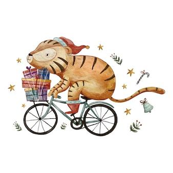 Animal fofo andando de bicicleta e entregando presentes doce ilustração em aquarela de natal