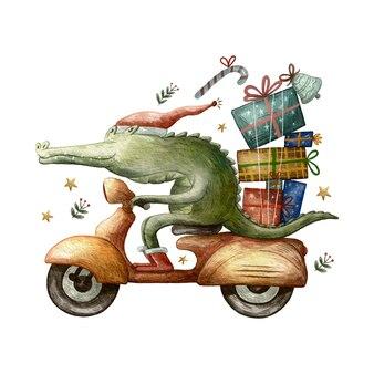 Animal fofo andando de scooter e entregando presentes doce ilustração em aquarela de natal