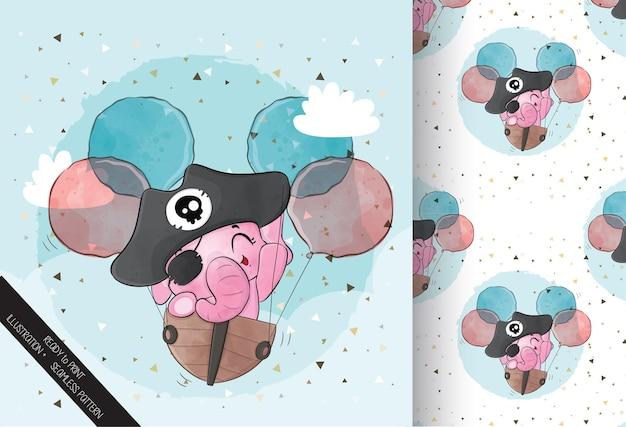 Animal fofo bebê elefante pirata personagem padrão sem emenda