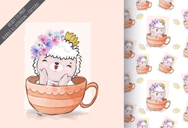 Animal fofo bebê ovelha na xícara padrão sem emenda