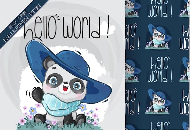 Animal fofo bebê panda com padrão sem emenda de chapéu azul panda