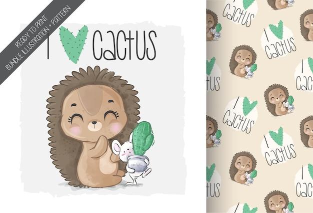 Animal fofo bebê porco-espinho amor cacto padrão sem emenda