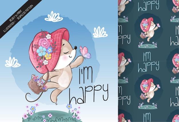 Animal fofo bebê rato feliz brincando com padrão sem emenda de borboleta