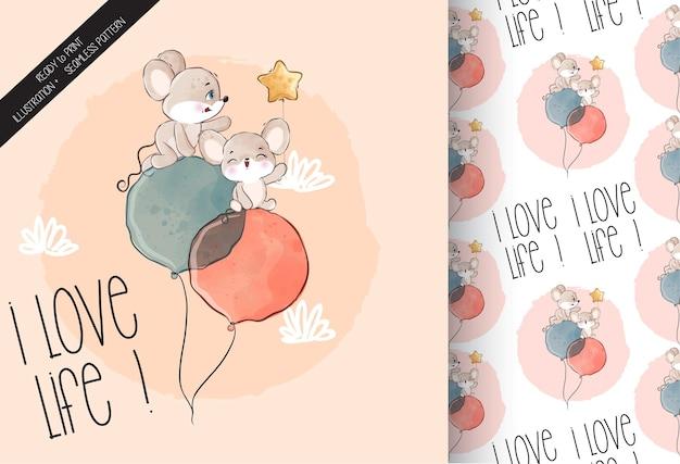 Animal fofo bebê rato feliz voando com balão padrão sem emenda
