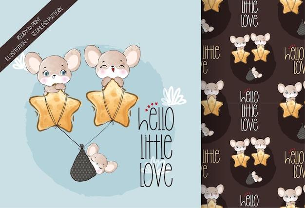 Animal fofo bebê rato feliz voando no padrão estrela sem emenda