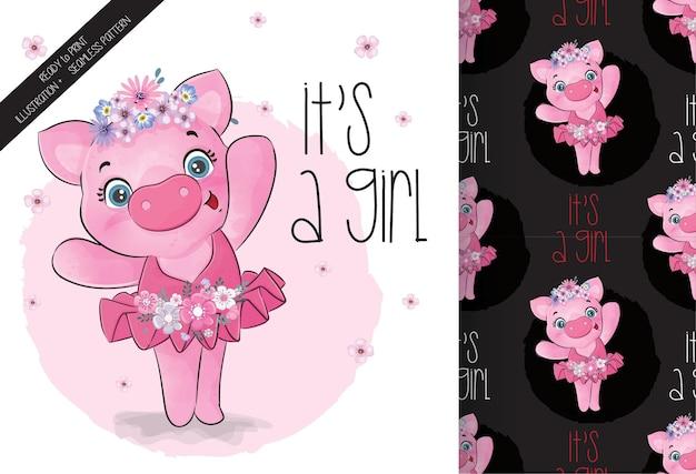 Animal fofo bonito porco padrão sem emenda de bailarina