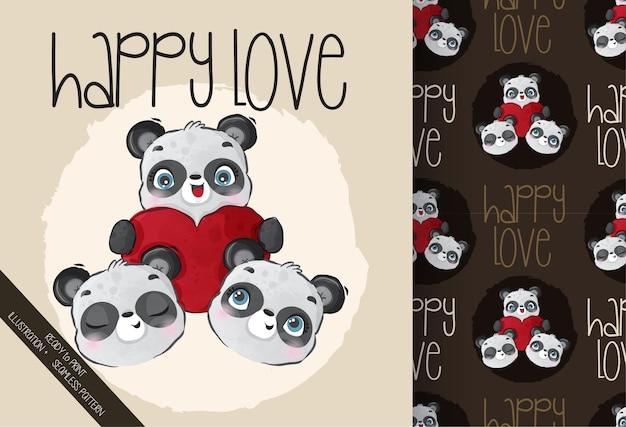 Animal fofo cara de panda com padrão sem emenda