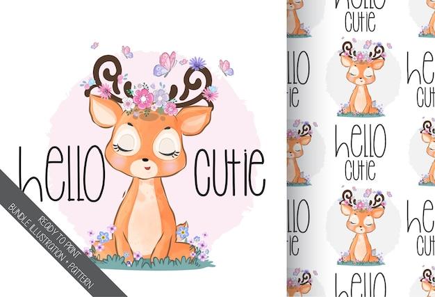 Animal fofo cervo bebê com padrão sem emenda de borboleta