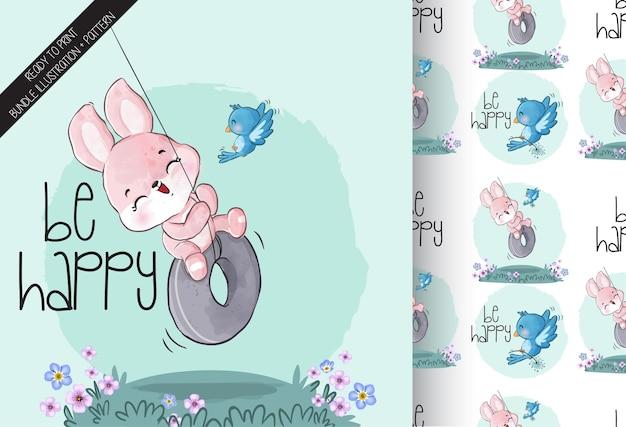 Animal fofo coelhinho bebê no balanço padrão sem emenda