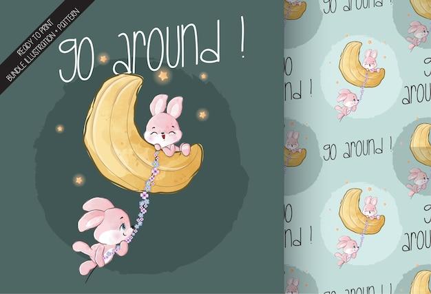 Animal fofo coelhinho feliz voando na lua padrão sem emenda